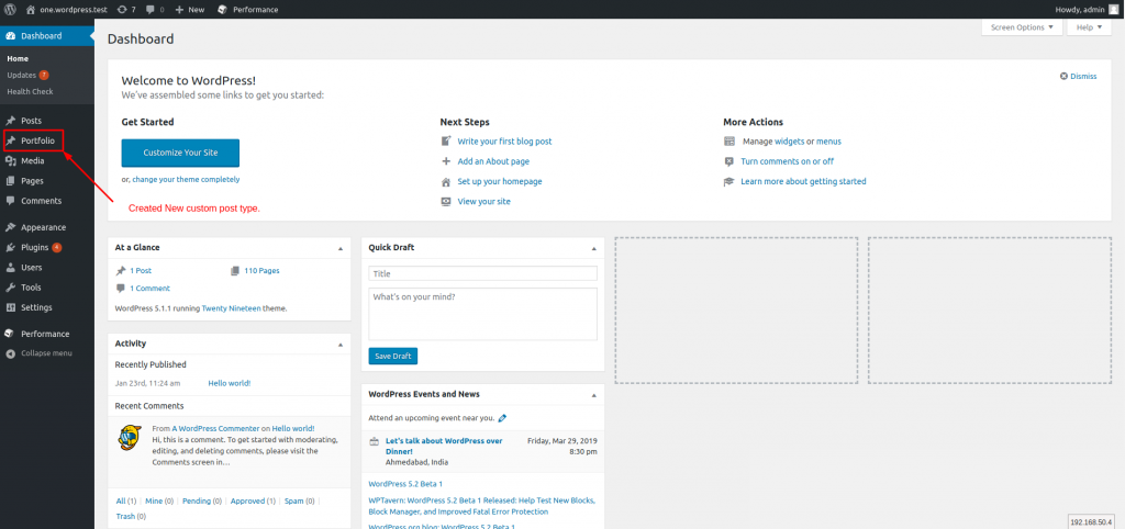 View new post type in the WordPress Dashboard