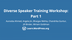 Diverse speaker training workshop part 1
