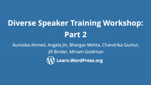 Diverse speaker training workshop part 2