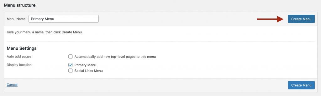Create Menu button for new menu