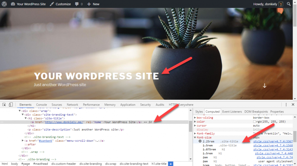 View the site title in inspector