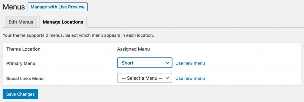 Manage Locations for menus