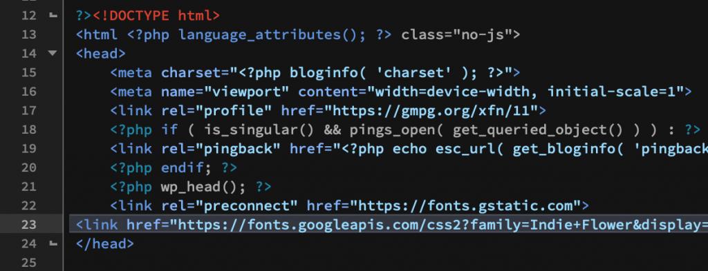 Code for Google Font