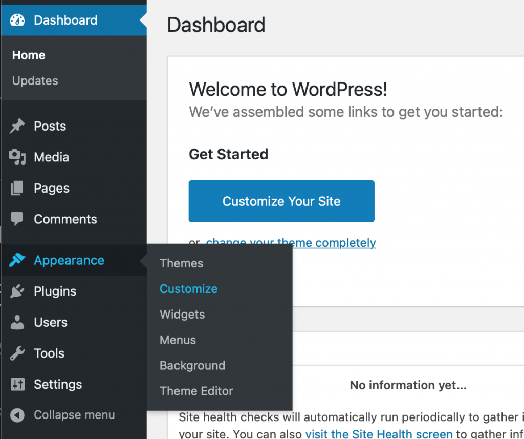 Menus on WordPress showing Appearance > Customize