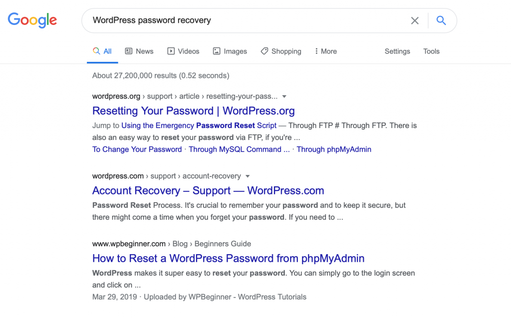 Google Search of WordPress password recovery