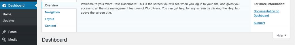WordPress dashboard help tab