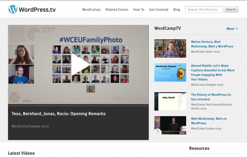 WordPress.tv screenshot