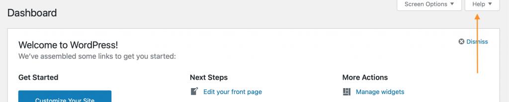 Help tab on WordPress dashboard