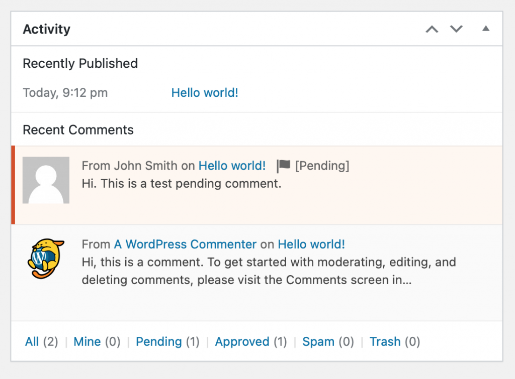 Comments widget in dashboard