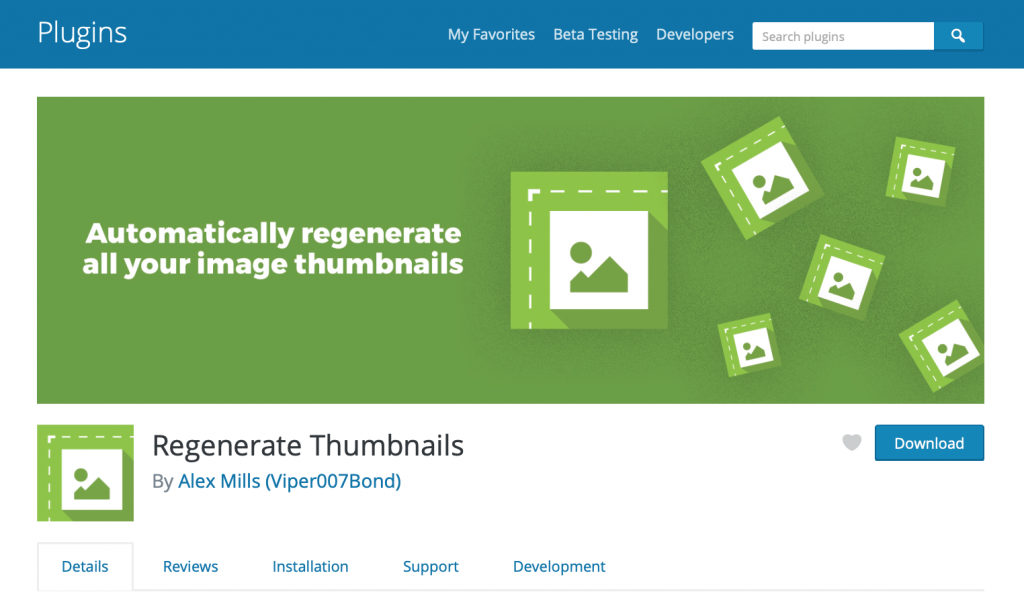 Regenerate thumbnails plugin page