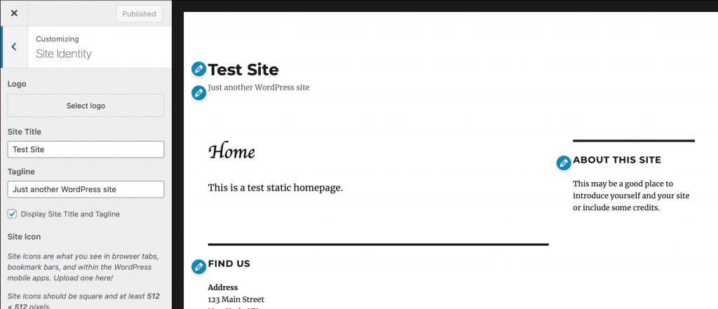 Site Identity panel