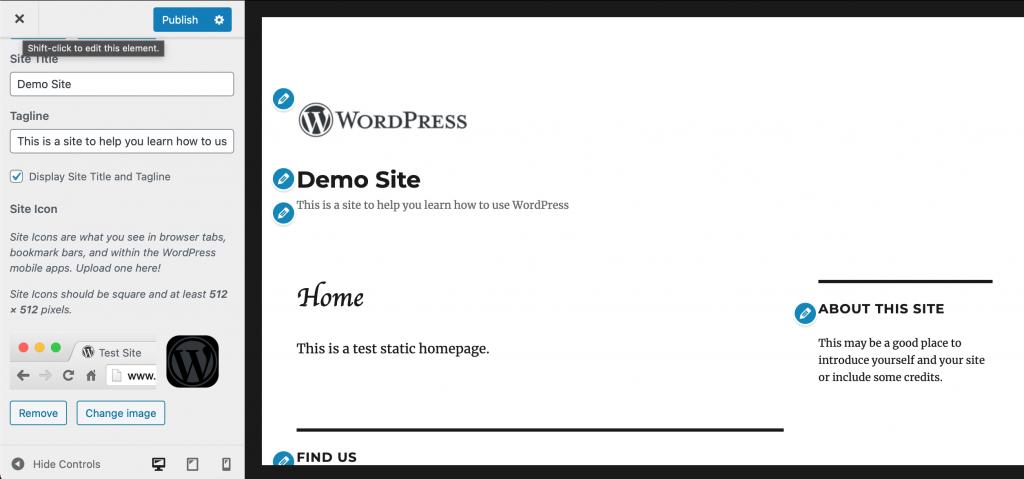 Site identify menu