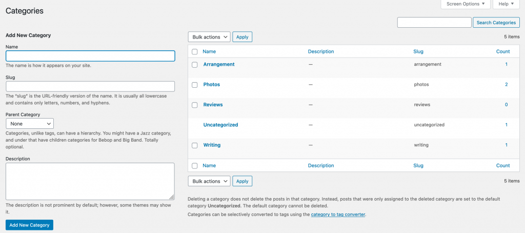 Categories page in the WordPress Dashboard