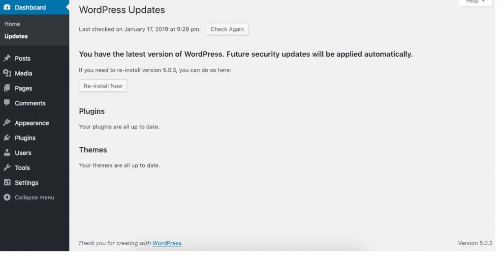 Dashboard update screen