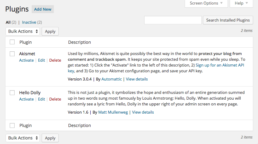 Plugins installed by default in WordPress: Akismet and Hello Dolly