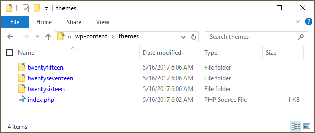Screenshot showing the /wp-content/themes folder.