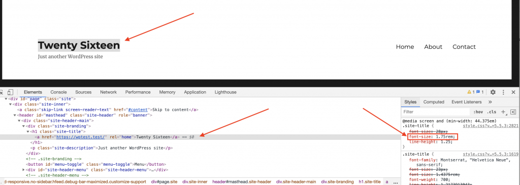 Screenshot showing how changes made in the child theme's style.css file override the styles of the parent theme.