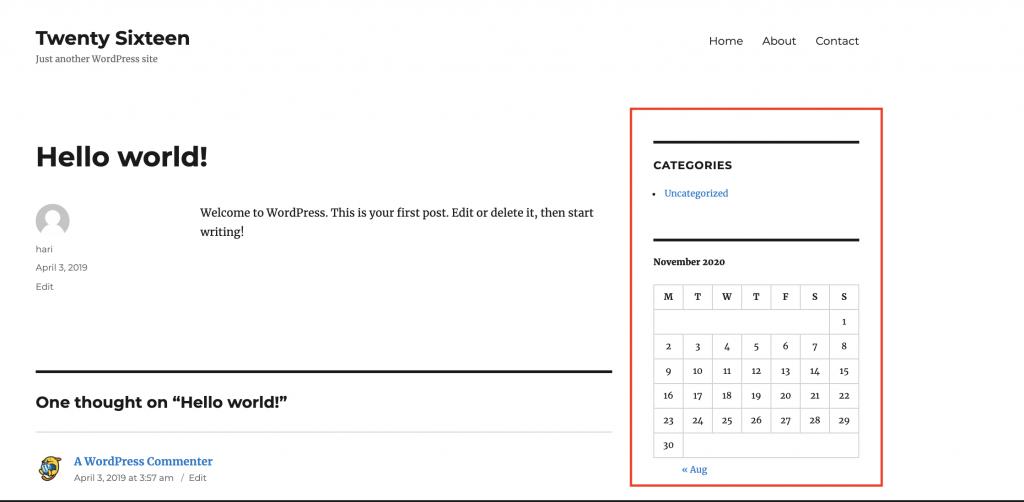 Screenshot of a site running the Twenty Sixteen theme.