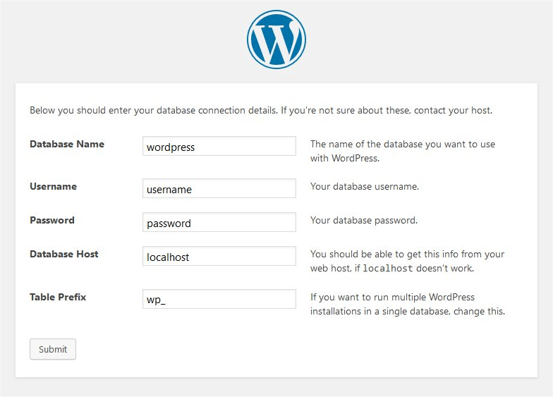 WordPress install page