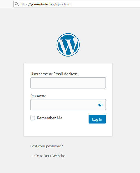 Login page for a WordPress site