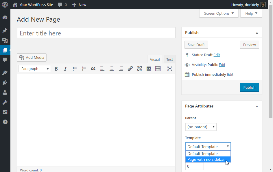 Screenshot showing the no sidebar template that was just created.