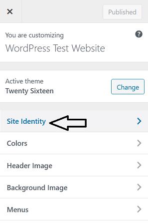 Site Identity In Customiser