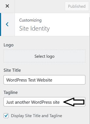 Tagline in Customizer