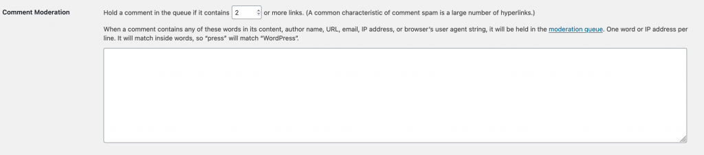 Comment Moderation text field