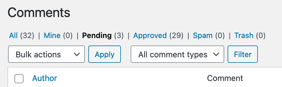 Pending comment queue for moderation