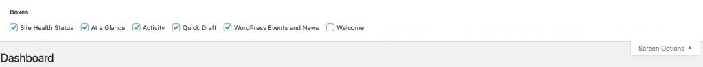 Screen Options settings