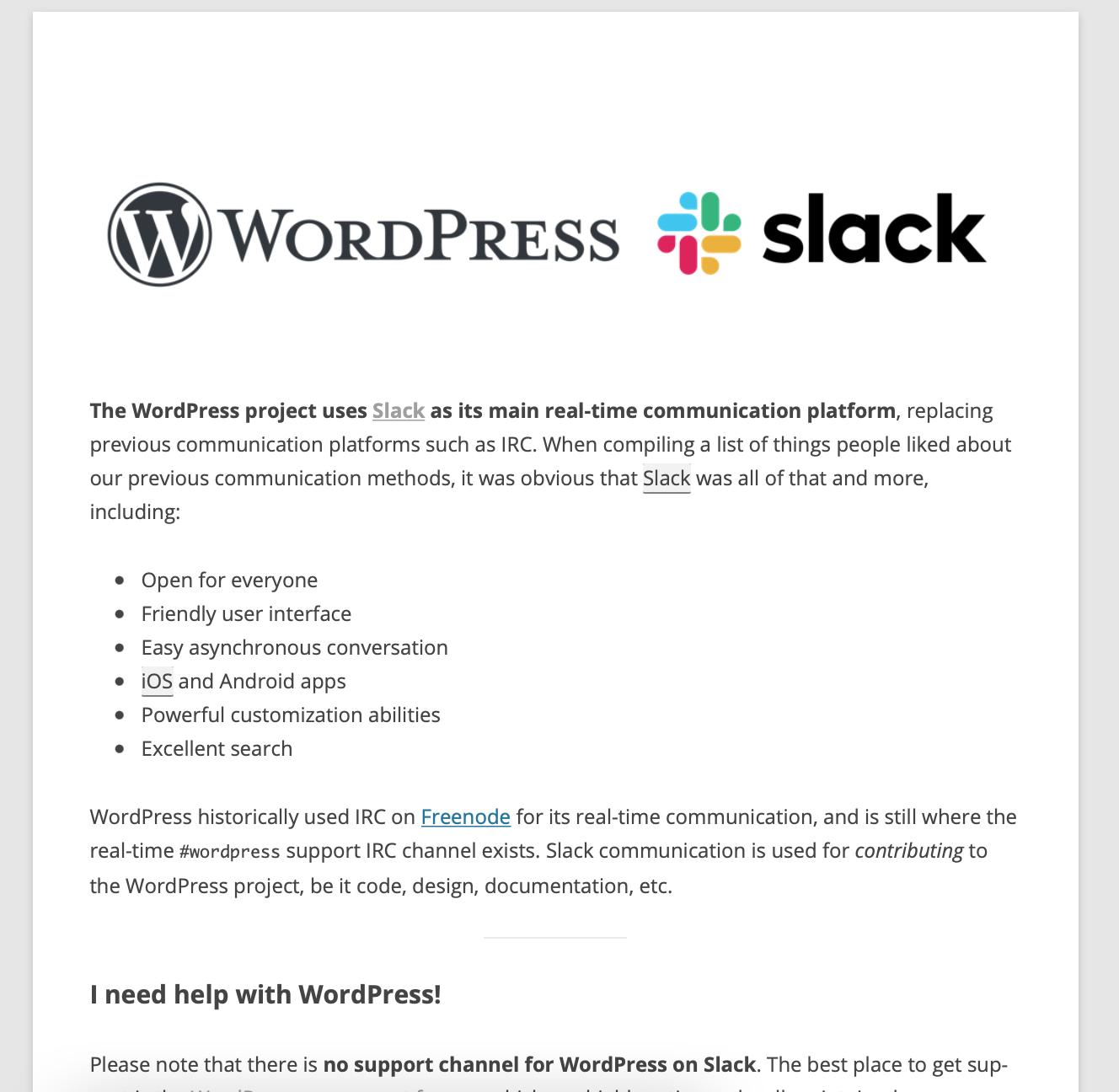 Slack and WordPress splash page
