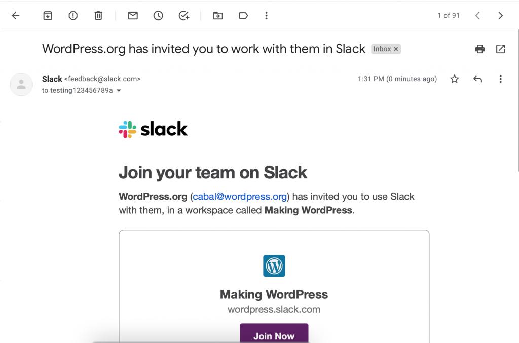 Slack sign up email