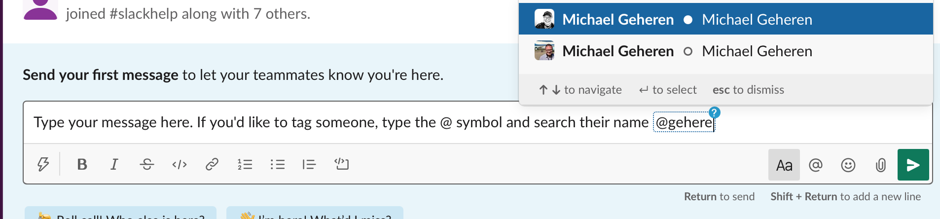 Typing a message in Slack.