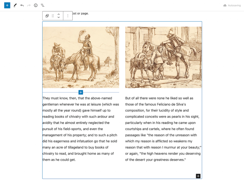 An example block pattern - two columns with images - inserted into a page.