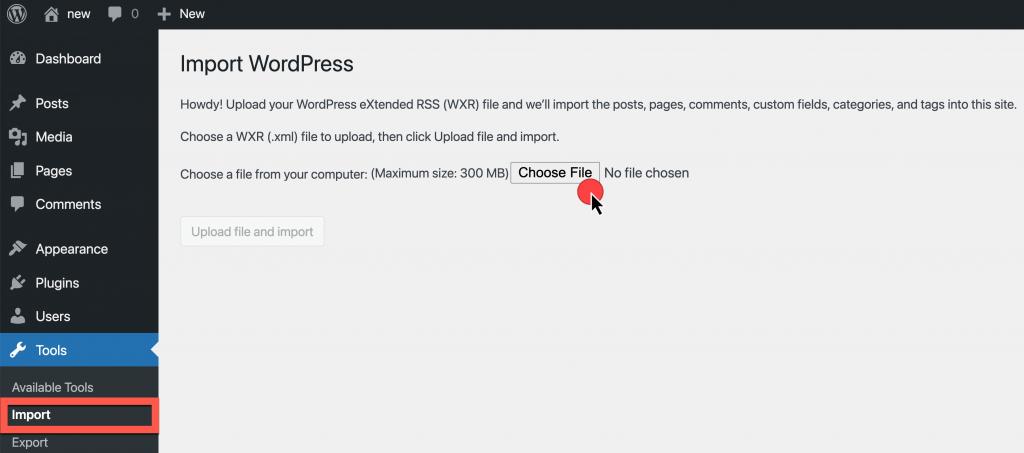 Screenshot: WordPress Admin Dashboard > Tools > Import > Choose File