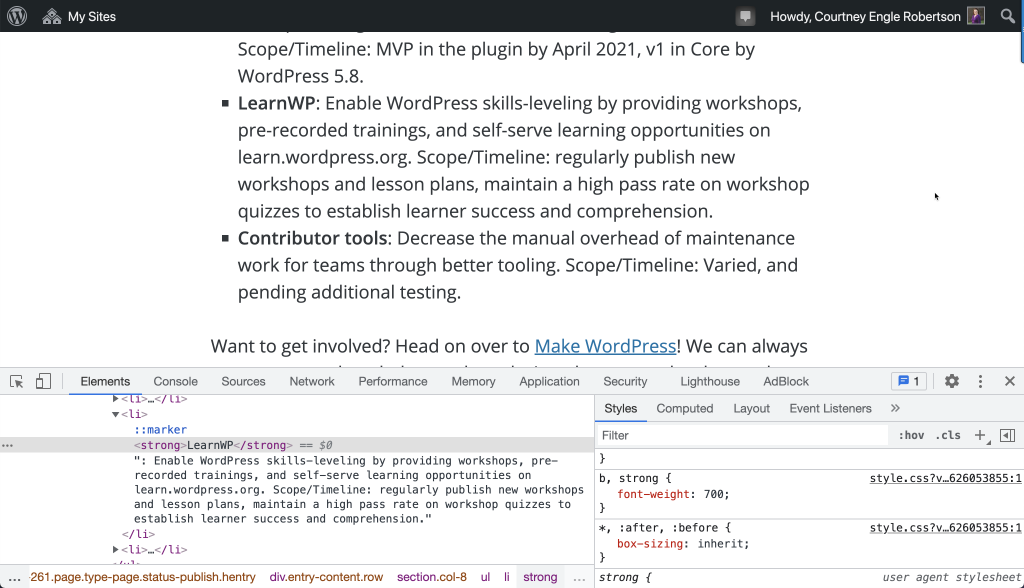 Content in the browser and developer tools are zoomed in