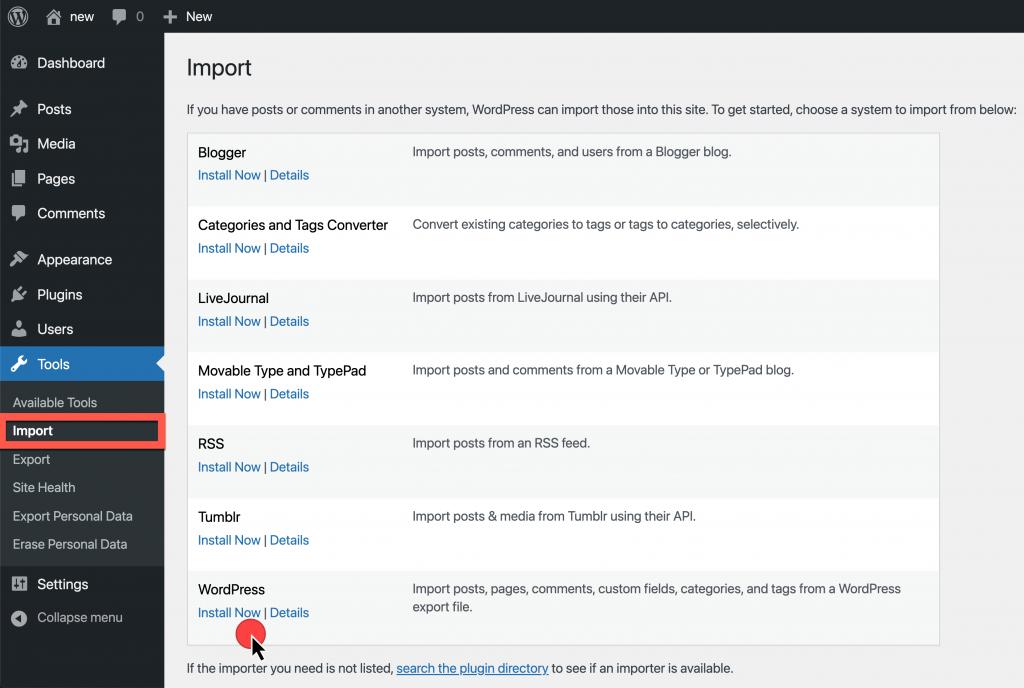 Screenshot showing Tools > Import > WordPress > Install Now